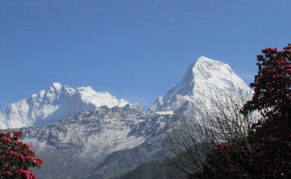 Trek v oblasti Annapurny - výhled Annapurna (z Ghorepani) (foto L.Peška, březen 2016)