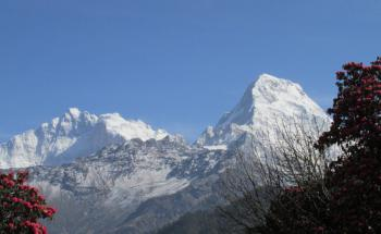 Trek v oblasti Annapurny, výhled Annapurna (z Ghorepani) (foto L.Peška, březen 2016)