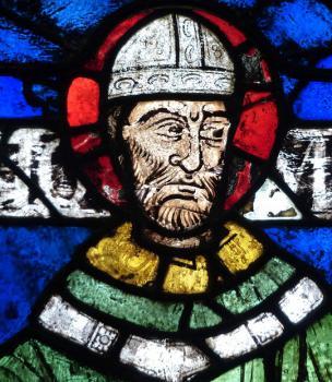 Arcibiskup Tomáš Becket, středověká vitraj z katedrály v Canterbury