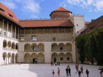 Krakov - nádvoří Wawelského hradu
